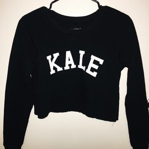 "Sweaters - Black Cropped ""Kale"" Sweatshirt"
